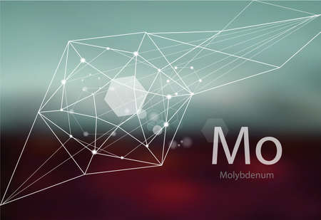 Molybdenum. A series of trace elements. Modern style, abstract background with polygonal elements. Science, research, medicine, technogenic direction.