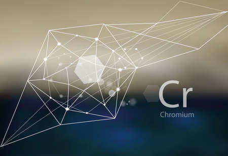 Chromium. A series of trace elements. Modern style, abstract background with polygonal elements. Science, research, medicine, technogenic direction.  イラスト・ベクター素材