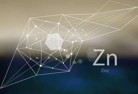 Zink. Eine Reihe von Spurenelementen. Moderner Stil, abstrakter Hintergrund mit polygonalen Elementen. Wissenschaft, Forschung, Medizin, technogene Richtung.