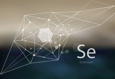Selenium. A series of trace elements. Modern style, abstract background with polygonal elements. Science, research, medicine, technogenic direction.