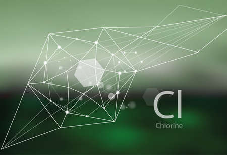 Chlorine. A series of trace elements. Modern style, abstract background with polygonal elements. Science, research, medicine, technogenic direction. Illustration