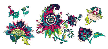 Paisley. Pattern elements in oriental (Iranian, Turkish) Paisley style for creating your design. Bright floral elements.