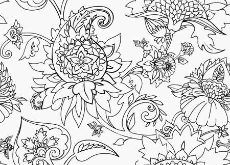 Traditional pattern in vintage oriental paisley style. Vecteurs