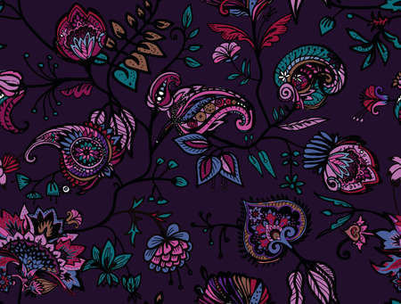 Seamless floral pattern. Traditional pattern in vintage oriental paisley style. Textiles and wallpaper.