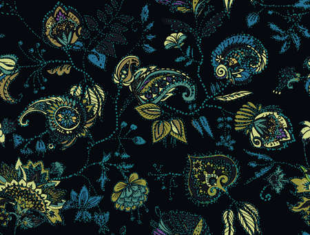 Seamless floral pattern. Traditional pattern in vintage oriental paisley style. Textiles and wallpaper. Ilustração
