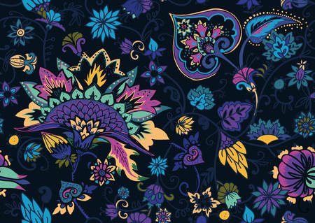 Seamless floral pattern in oriental paisley style. Stylized textile background in the traditions of Turkey, Iran. Buta or Turkish Cucumber. Иллюстрация