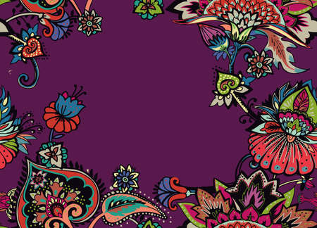 Seamless floral pattern in oriental paisley style. Stylized textile background in the traditions of Turkey, Iran. Border, frame, edging, framing Çizim