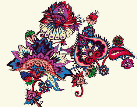 Individual elements of the pattern in oriental paisley style. Traditions India, Iran, Turkey Çizim
