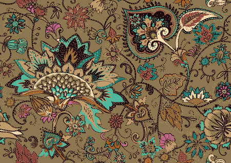 Seamless floral pattern in oriental paisley style. Stylized textile background in the traditions of Turkey, Iran. Buta or Turkish Cucumber. Çizim