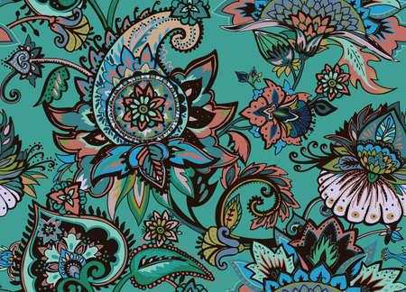 Paisley. Seamless Textile floral pattern with oriental paisley or buta ornament.