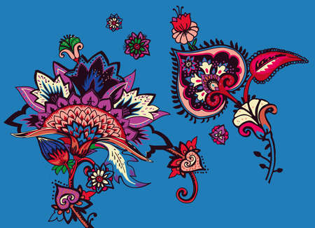 Individual elements of the pattern in oriental paisley style. Traditions India, Iran, Turkey 向量圖像