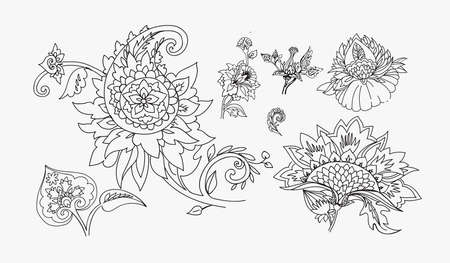 Paisley. Pattern elements in oriental (Iranian, Turkish) Paisley style for creating your design. Line drawing, stroke, coloring.