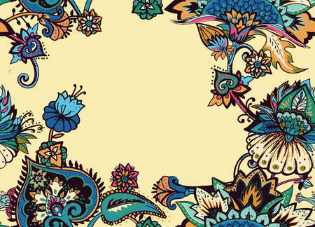 Seamless floral pattern in oriental paisley style. Stylized textile background in the traditions of Turkey, Iran. Border, frame, edging, framing Illustration