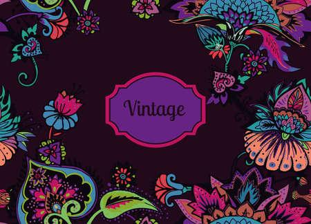 Motif floral sans couture dans un style oriental paisley. Fond textile stylisé dans les traditions de la Turquie, de l'Iran. Bordure, cadre, bordure, encadrement