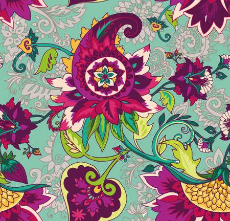 Cachemire. Motif floral textile sans couture avec ornement oriental paisley ou buta.