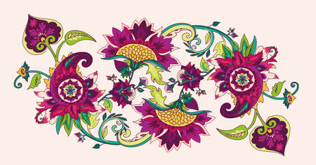 Paisley. Textile floral pattern with oriental paisley or buta ornament. Border, frame
