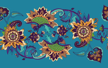 Paisley. Seamless Textile floral pattern with oriental paisley or buta ornament. Border, frame 向量圖像