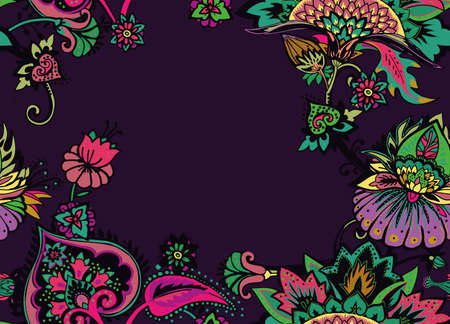 Seamless floral pattern in oriental paisley style. Stylized textile background in the traditions of Turkey, Iran. Border, frame, edging, framing 向量圖像