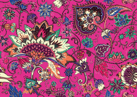 Seamless floral pattern in oriental paisley style. Stylized textile background in the traditions of Turkey, Iran. Buta or Turkish Cucumber.