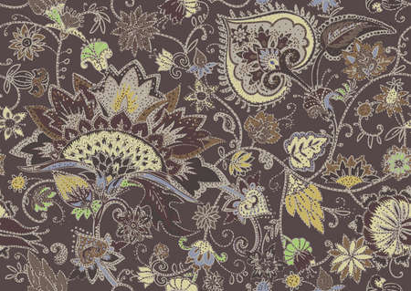Seamless floral pattern in oriental paisley style. Stylized textile background in the traditions of Turkey, Iran. Buta or Turkish Cucumber. 向量圖像