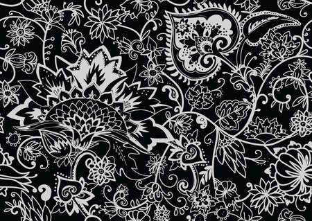Motif floral sans couture dans un style oriental paisley. Fond textile stylisé dans les traditions de la Turquie, de l'Iran. Buta ou concombre turc.