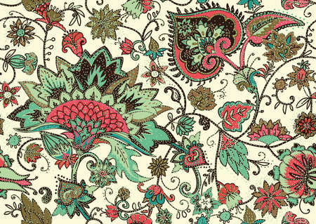 Seamless floral pattern in oriental paisley style. Stylized textile background in the traditions of Turkey, Iran. Buta or Turkish Cucumber. 일러스트