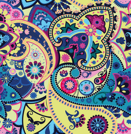 Seamless geometric pattern in oriental style. Traditional paisley motifs. Textiles and wallpaper. Vetores