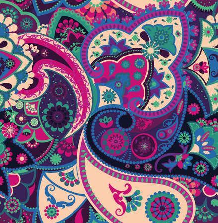 Nahtloses geometrisches Muster im orientalischen Stil. Traditionelle Paisley-Motive. Textilien und Tapeten.