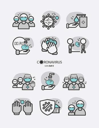 Icon set - Stop the spread of the coronavirus! Infographics, image illustration Vecteurs