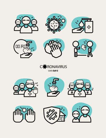 Icon set - Stop the spread of the coronavirus! Infographics, image illustration