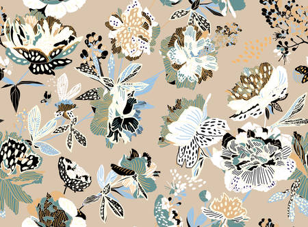 Seamless floral pattern - a bouquet of peonies. Beautiful textile pattern of flowers and leaves. Vektorgrafik