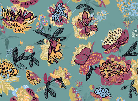 Seamless floral pattern - a bouquet of peonies. Beautiful textile pattern of flowers and leaves.