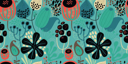 Seamless fantasy floral pattern. Flowers, plants and paisley cucumbers. Modern version of oriental paisley patterns.