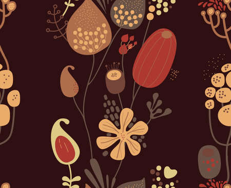 Seamless fantasy floral pattern. Flowers, plants and paisley cucumbers. Modern version of oriental paisley patterns. Stock fotó - 148018511