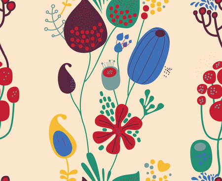 Seamless fantasy floral pattern. Flowers, plants and paisley cucumbers. Modern version of oriental paisley patterns. Stock fotó - 148018593
