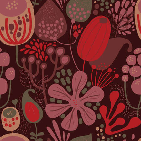 Seamless fantasy floral pattern. Flowers, plants and paisley cucumbers. Modern version of oriental paisley patterns. Stock fotó - 148018594