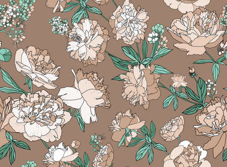 Seamless floral pattern - a bouquet of peonies. Beautiful textile pattern of flowers and leaves. Stock fotó - 148018601