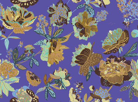 Seamless floral pattern - a bouquet of peonies. Beautiful textile pattern of flowers and leaves. Stock fotó - 148018603