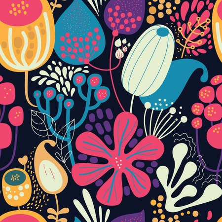 Seamless fantasy floral pattern. Flowers, plants and paisley cucumbers. Modern version of oriental paisley patterns. Stock fotó - 148018605