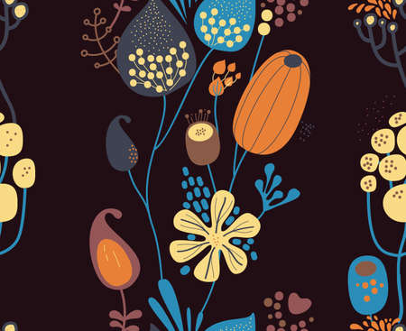 Seamless fantasy floral pattern. Flowers, plants and paisley cucumbers. Modern version of oriental paisley patterns. Stock fotó - 148018606