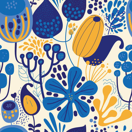 Seamless fantasy floral pattern. Flowers, plants and paisley cucumbers. Modern version of oriental paisley patterns. Stock fotó - 148018610