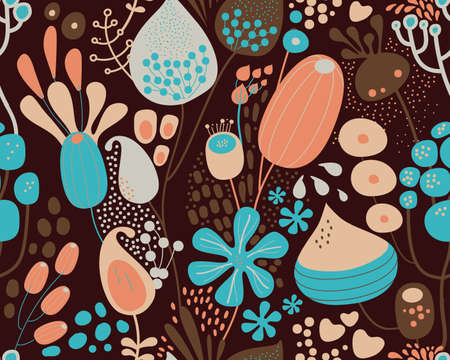 Seamless fantasy floral pattern. Flowers, plants and paisley cucumbers. Modern version of oriental paisley patterns. Stock fotó - 148018837