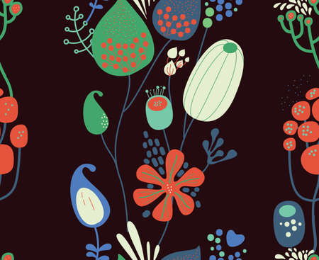 Seamless fantasy floral pattern. Flowers, plants and paisley cucumbers. Modern version of oriental paisley patterns. Stock fotó - 148018846