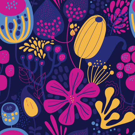 Seamless fantasy floral pattern. Flowers, plants and paisley cucumbers. Modern version of oriental paisley patterns. Stock fotó - 148018848