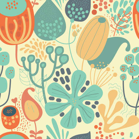 Seamless fantasy floral pattern. Flowers, plants and paisley cucumbers. Modern version of oriental paisley patterns. Stock fotó - 148019006
