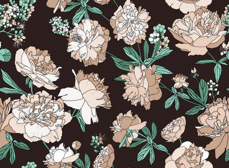 Seamless floral pattern - a bouquet of peonies. Beautiful textile pattern of flowers and leaves. Stock fotó - 148019015