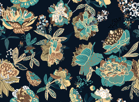 Seamless floral pattern - a bouquet of peonies. Beautiful textile pattern of flowers and leaves. Stock fotó - 148019020