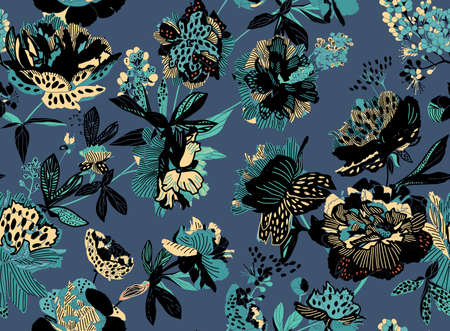 Seamless floral pattern - a bouquet of peonies. Beautiful textile pattern of flowers and leaves. Stock fotó - 148019023