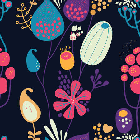 Seamless fantasy floral pattern. Flowers, plants and paisley cucumbers. Modern version of oriental paisley patterns. Stock fotó - 148019029