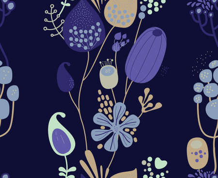 Seamless fantasy floral pattern. Flowers, plants and paisley cucumbers. Modern version of oriental paisley patterns. Illusztráció